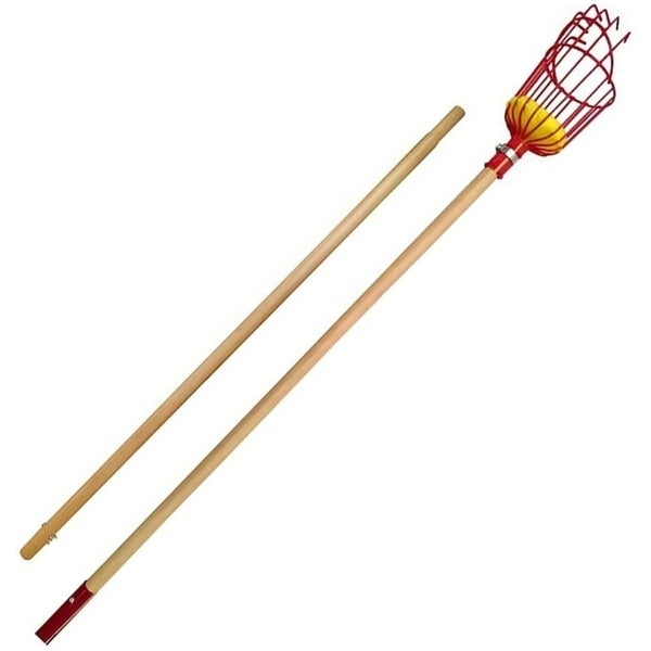 Fruit Picker with Long Wood Pole & Fruit Catcher - Reach Fruit up to 15 Feet without Ladder