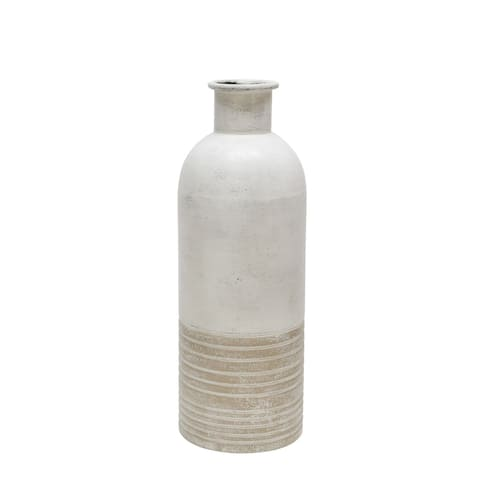 "Metal 18"" Deco Antique Milk Jar , Beige"