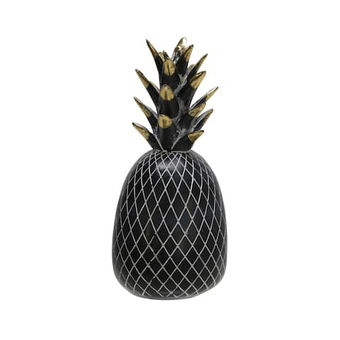 "Polyresin 8"" Pineapple Decor, Black/Gold"