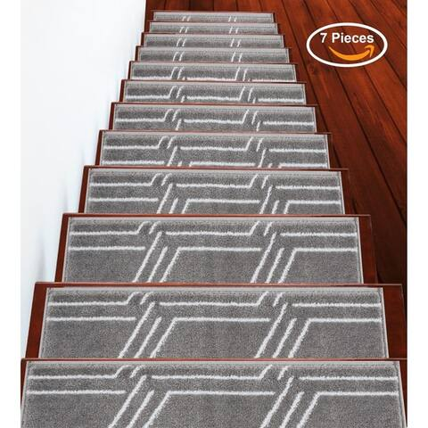 """SUSSEXHOME Plaza Collection Stair Treads 100% Polypropylene 9"""" x 28"""""""