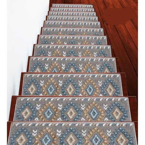 "SUSSEXHOME Traditional Collection Stair Treads Polypropylene 9""x28"""