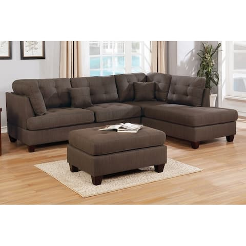 3-Pcs Linen Tufted Upholstery Reversible Sectional with Ottoman