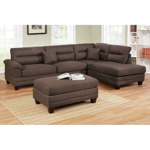 3-Pcs Linen Upholstery Reversible Sectional with Ottoman