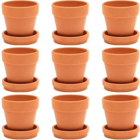 9x Mini Terra Cotta Terracotta Pots with Saucer Flower Clay Planters Small 3""