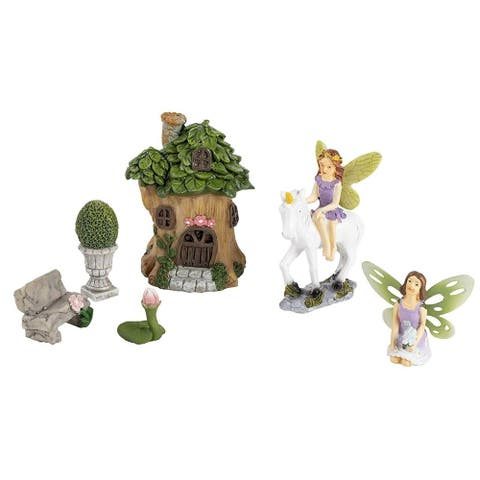 7-Piece Miniature Tree House and Fairy Figurines Garden Accessories Decorations