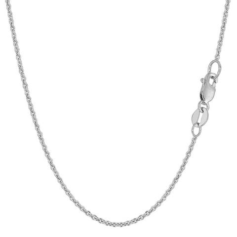 14K White Gold 1.5MM Forsantina Cable Link Pendant Necklace Chain, Gold Necklace for Men & Women, Capital Jewelry