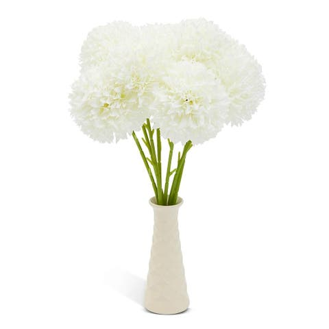 8 Pack White Silk Artificial Hydrangea Fake Flowers for Floral Wedding Decoration