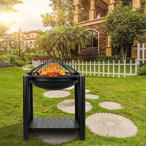 "22"" Outdoor Iron Brazier Wood Burning Fire Pit"