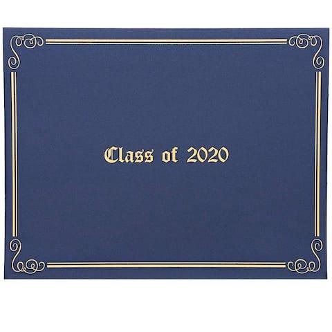12 Class of 2020 Certificate Holder Diploma Award Cover Folder Letter Size Blue