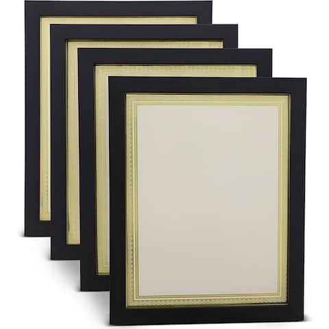 4x Document Frame w/ Blank Certificate Paper for Diploma Photo 8.5x11 Display