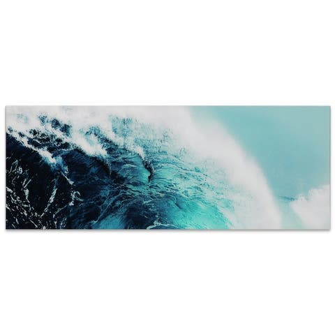 """""""Blue Wave 1"""" Unframed Free Floating Tempered Glass Wall Art"""