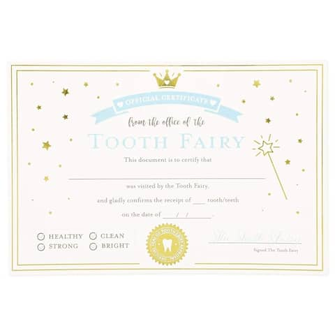 32 Pack 4 x 6 in Tooth Fairy Paper Certificate with Goil Foil for Kids, Ivory