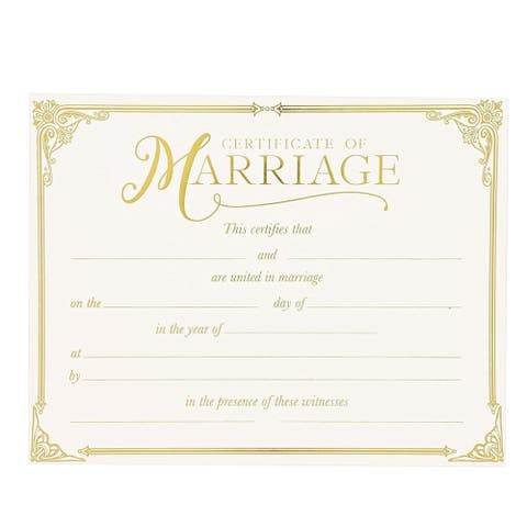 48 Pack 11 x 8.5 in Elegant Marriage Certificate Keepsake Blank with Goil Foil for Wedding, Ivory