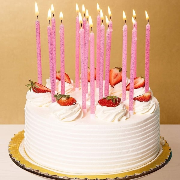 Strange Shop 48 Pink Glitter Long Birthday Cake Candles For Girls Party Funny Birthday Cards Online Barepcheapnameinfo