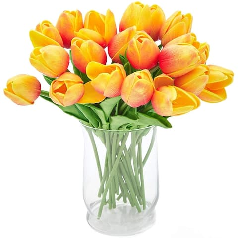 20 Pack Yellow Artificial Tulip Fake Flowers with Stems for Floral Decoration