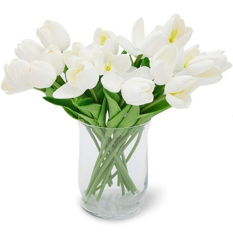 20 Pack White Tulips Artificial Fake Flowers with Stems for Floral Decoration