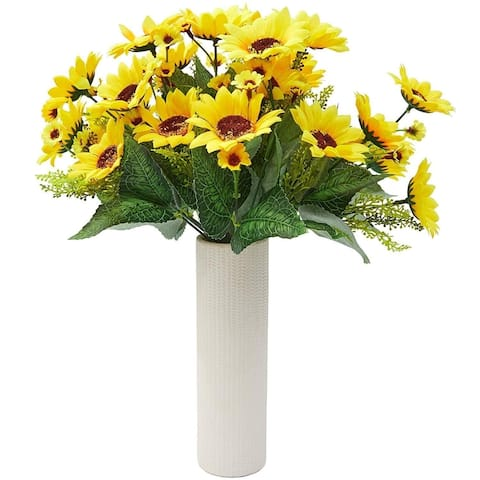 4 Bouquet Yellow Sunflowers Artificial Fake Flowers for Floral Home Decorations