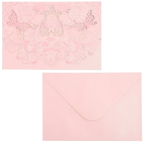 24 Packs Pink Shimmer Blank Wedding Invitation with Envelopes for Bridal and Baby Shower Birthday Graduation, 7 x 5 Inches