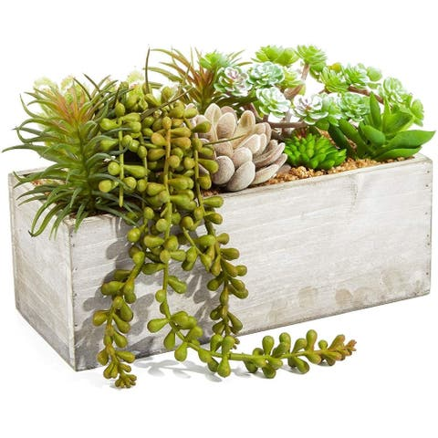 Artificial Mixed Succulent Plants in Rectangular Wooden Planter Box 9 x 4 x 5 in - 9 x 4 x 5 in