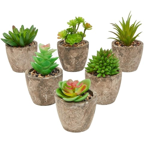 6 Pack Artificial Succulents, 2.7 to 4 inches Green and Red Cactus Plants with Gray Pots