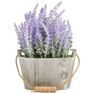 Link to Artificial Lavender Fake Flower Plant in Rustic Oval Wooden Box for Decorations Similar Items in Decorative Accessories