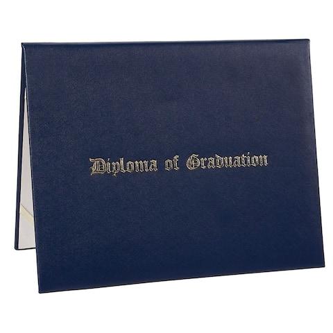 Navy Blue Diploma of Graduation Gold Foil Imprint Certificate Holder Award Cover