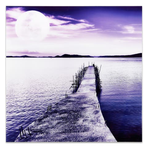 """""""Pier with Moon Rising"""" Unframed Free Floating Tempered Glass Wall Art"""