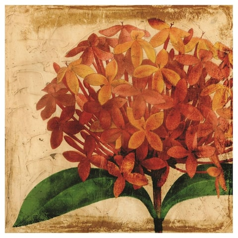 Antique Hydrangea Unframed Free Floating Tempered Glass Wall Art