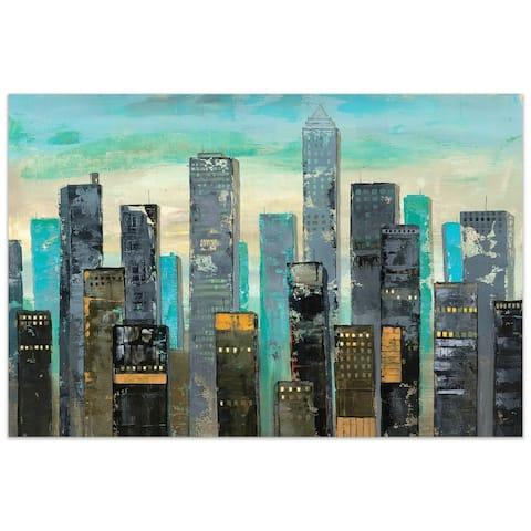 """Urban Lights II"" Unframed Free Floating Tempered Glass Wall Art"