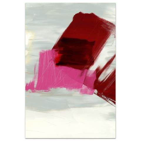 """Magenta Abstract 1"" Unframed Free Floating Tempered Glass Wall Art"