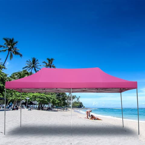 Ainfox 10x20 Ft Pop up Wedding Canopy Tent Outdoor Gazebo Pink