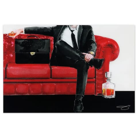 """The Gentleman"" Unframed Free Floating Tempered Glass Wall Art"