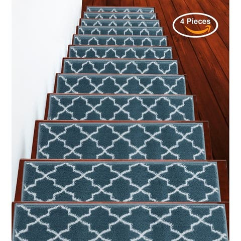 "SUSSEXHOME Trellisville Collection Stair Treads Polypropylene 9""x28"""