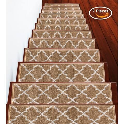 "SUSSEXHOME Trellisville Collection Stair Treads Polypropylene 9""x28"""