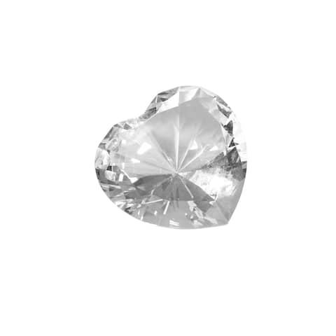 Glass Heart Diamond, Clear, 4""