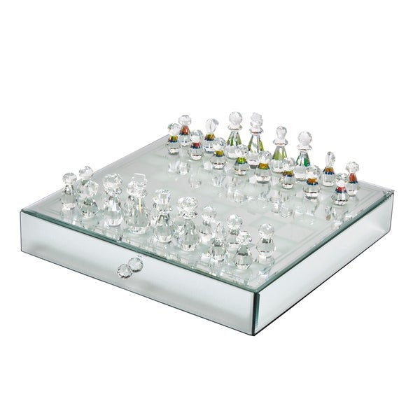 Crystal / Mirrored Chess Set,Silver. Opens flyout.