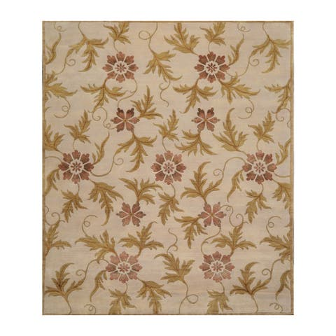 Hand Knotted Floral Beige,Mustard Tibetan Wool and Silk Oriental Area Rug (8x10) - 07' 10'' x 09' 09''