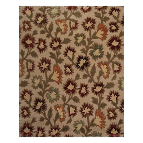 Hand Knotted Floral Beige,Brown Tibetan Wool and Silk Oriental Area Rug (8x10) - 07' 11'' x 09' 09''