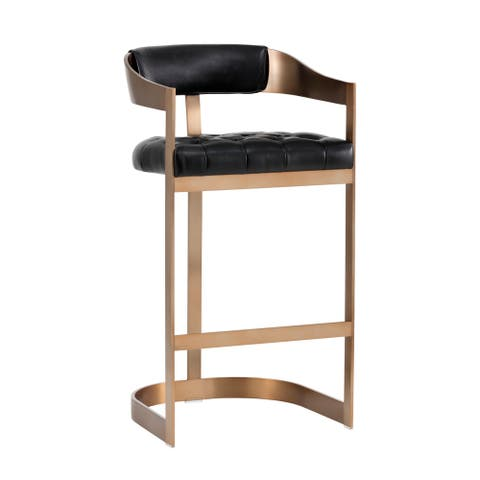 Sunpan 103777 Beaumont Barstool - Antique Brass - Black Leather