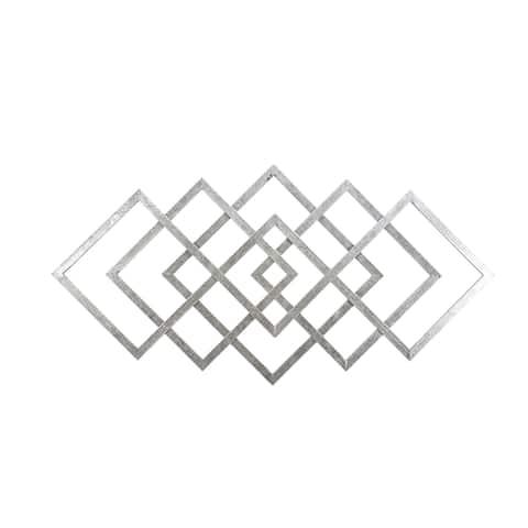 "40"" Diamond Metal Wall Decor, Silver, Wb"