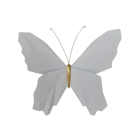 """Resin 8"""" W Origami Butterfly Wall Hanging, White"""