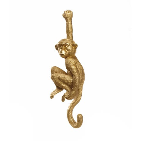"Polyresin 12"" Hanging Monkey Wall Hook, Gold"