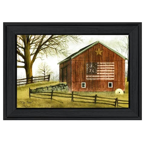 """""""Flag Barn"""" By Billy Jacobs, Ready to Hang Framed Print, Black Frame"""