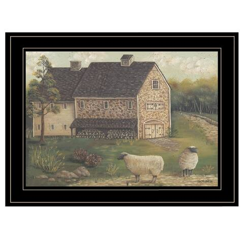 """""""Stone Barn"""" By Pam Britton, Ready to Hang Framed Print, Black Frame"""