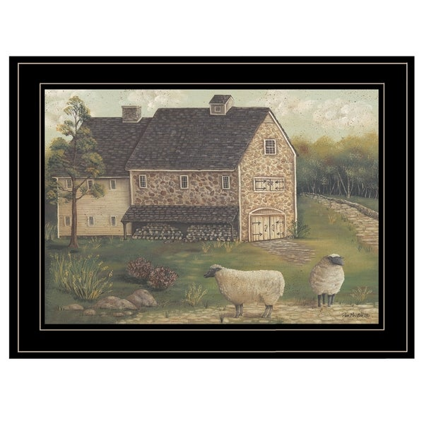 """""""Stone Barn"""" By Pam Britton, Ready to Hang Framed Print, Black Frame. Opens flyout."""