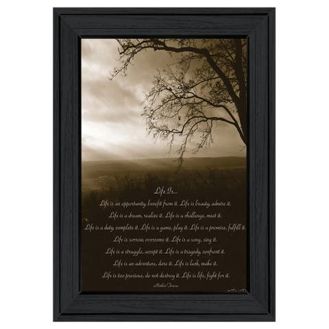 """""""Life is"""" By Dee Dee, Ready to Hang Framed Print, Black Frame"""