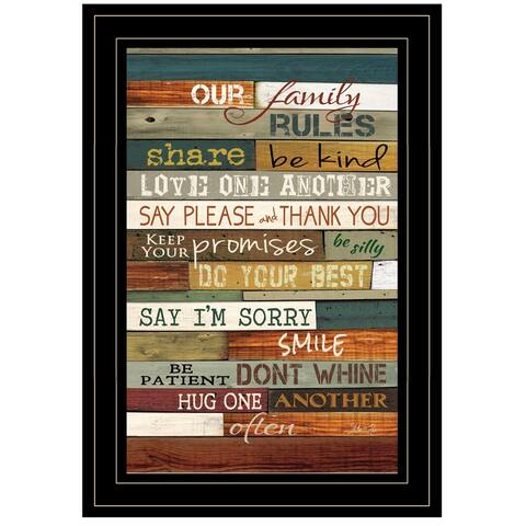 """""""Our Family Rules"""" By Marla Rae, Ready to Hang Framed Print, Black Frame"""