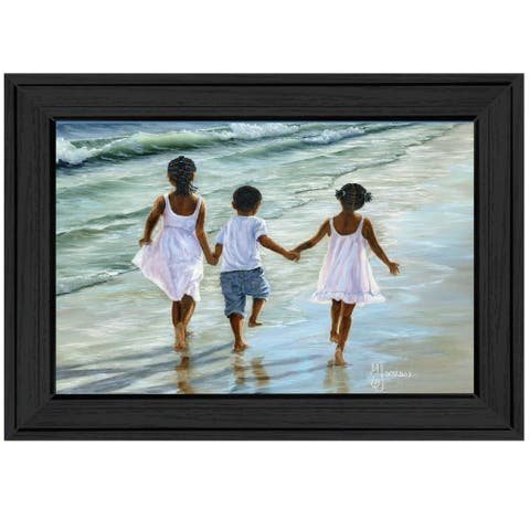 """""""Running on the Beach"""" By Georgia Janisse, Ready to Hang Framed Print, Black Frame"""