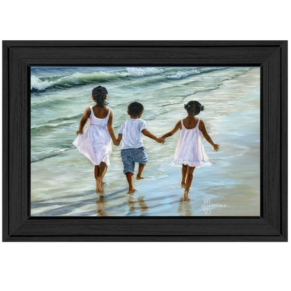 """""""Running on the Beach"""" By Georgia Janisse, Ready to Hang Framed Print, Black Frame. Opens flyout."""