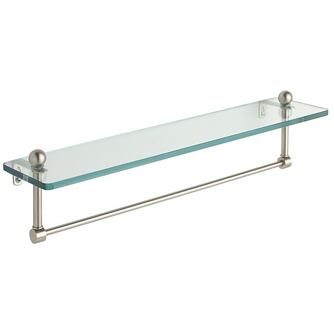 shop 22 inch glass bathroom shelf with towel bar on sale free shipping today